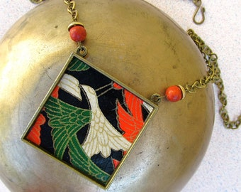 Vintage Japanese Chiyogami Pendant Necklace on Antique Bronze Chain