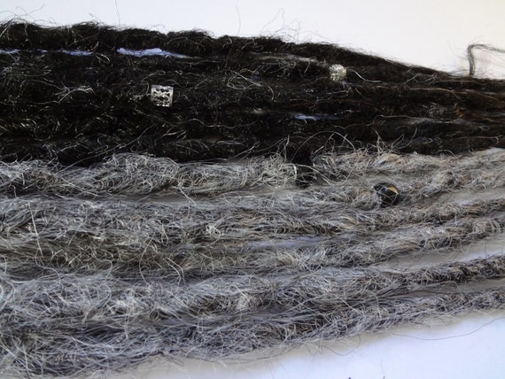 Kit of 13 Single ended knotty dreadlock extensions. Braid in natural style Synthetic dreads in salt and pepper greys