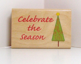 Celebrate the Season Christmas Tree Rubber Stamp