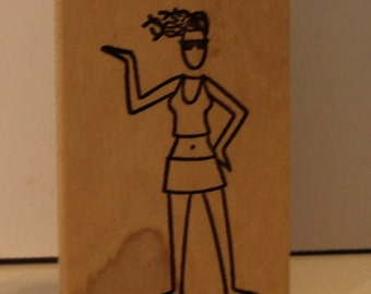 Cool Summer Girl Rubber Stamp