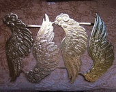 Vintage Hazel Pearson Angel Wings Decoupage Gold Embossed Paper