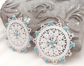 Boho white  venice lace earrings  , spring summer earrings , mothers day gift , everyday jewels , large boho chic earrings