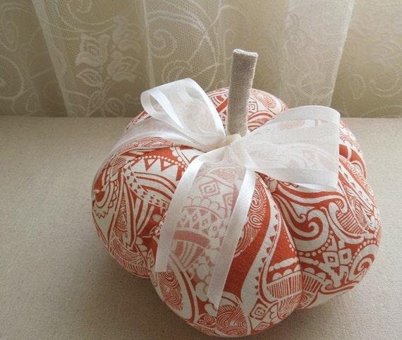 Orange and White Fabric Pumpkin Decorative Autumn Fall Decor