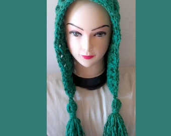 Crochet Pixie Hood Hat with tassel Pattern for Beginners -  All Sizes Newborn to Adult Number 105 INSTANT DOWNLOAD