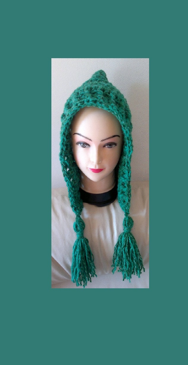 Crochet Tassel Hat Pattern For Baby : Crochet Pixie Hood Hat with tassel Pattern for Beginners