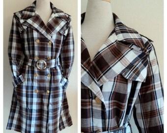 Vintage 1970's Coat / Ladies Plaid  Mid Length Trench Coat / Belted Jacket