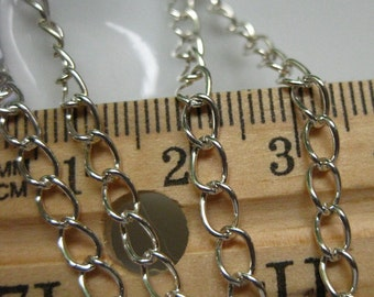 Silver Plated Curb Chain 5mm by 3mm 1 Foot 31 cm open links SC35E