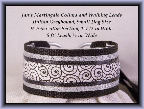 Small Dog Martingale Collar and Leash Combination Walking Lead, Italian Greyhound, Black