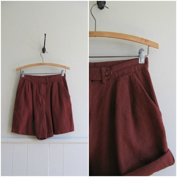 RESERVED Vintage rust linen early 90s shorts