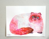 RESERVED rolly polly princess (original cat painting on paper)
