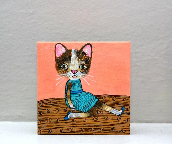 SALE cat girl (original painting on wood)