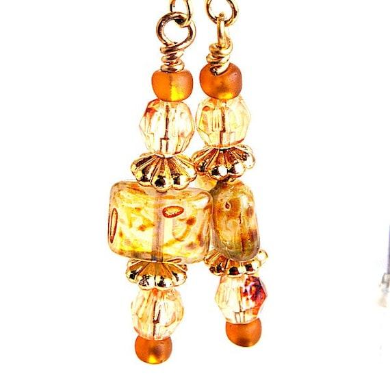bead earrings honey amber picasso glass nickel free