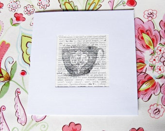 Teacup Greeting Card. Square-shaped. Vintage Dictionary Page. Birthday Celebration Afternoon Tea