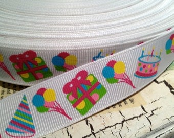 "3 yards 7/8"" HAPPY BIRTHDAY Party Hat Themed Balloons Cake and more"