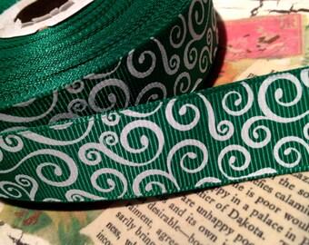 "3 YARDS 7/8"" Green and White Christmas SWIRL Loop Grosgrain Ribbon"