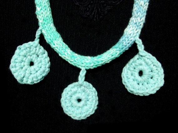 Knitted Necklace with Crocheted circles, turquoise, blue, green, The PARK AVENUE NECKLACE by RedRobinArt, Gigsby Gallery and Gifts