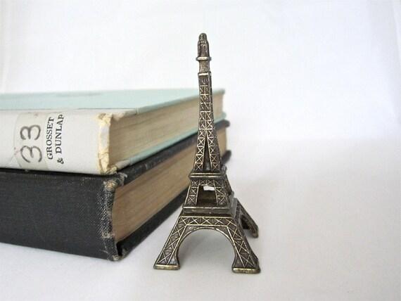 Vintage Eiffel Tower Statue, Petite Metal Souvenir of Paris France