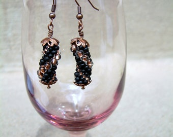 Bead Crochet Earrings Swing, Black Copper Gold  Heirloom Quality Artisan Seed Beaded  Rope