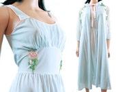 1950s Peignoir Set - Vintage Blue Pink Cummerbund Waist Nightgown Chiffon Sleeve Robe Size S Small FREE US Shipping