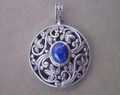 Balinese sterling Silver Lapis Lazuli Pendant / silver 925 / Bali handmade jewelry / 1.25 inch diameter