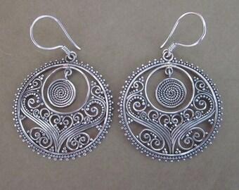 Bali Silver 925 Earrings / 1.75 inch long / sterling silver handmade Balinese jewelry / (#263K)