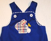 Size 18 months/24 months Royal Blue John John Shortall with Plaid Bunny.  Ready to Ship.