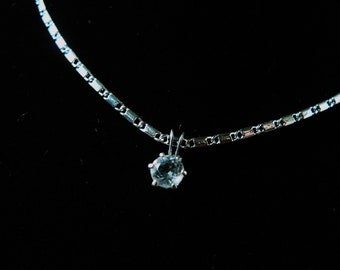 Necklace, Sterling Silver, White Topaz    4167