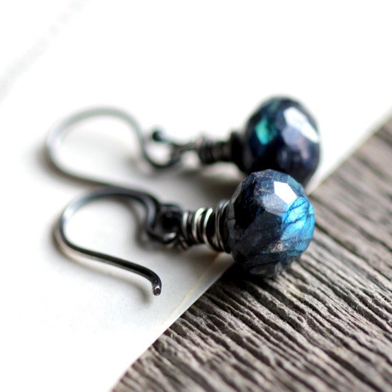Blue Spectrolite Wire Wrapped Gemstone Earrings Blue Labradorite and Sterling Silver - Quickening