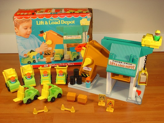 Vintage 70s Fisher Price Little People Lift and Load 942 w/ Construction Trucks Workers Blocks and Box Mid Century Modern
