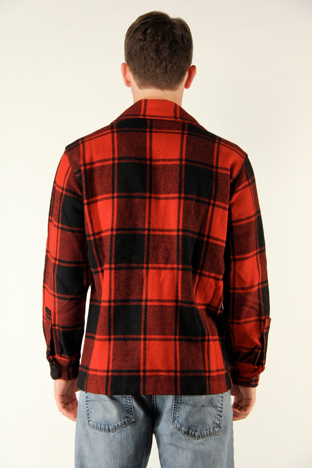 Vintage 1950s Maine Guide Lumberjack Buffalo Plaid Red Black