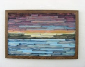 Distressed Abstract Landscape Painting on Wood