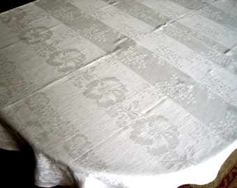 DAMASK Tablecloth Vintage LINEN White Bands With BABYs BREATH Flowers 62 inches