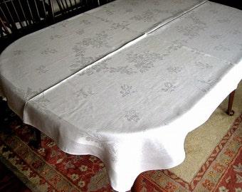 DAMASK Tablecloth Vintage Bone WHITE Slick Pure LINEN Sleek Tulip Flowers