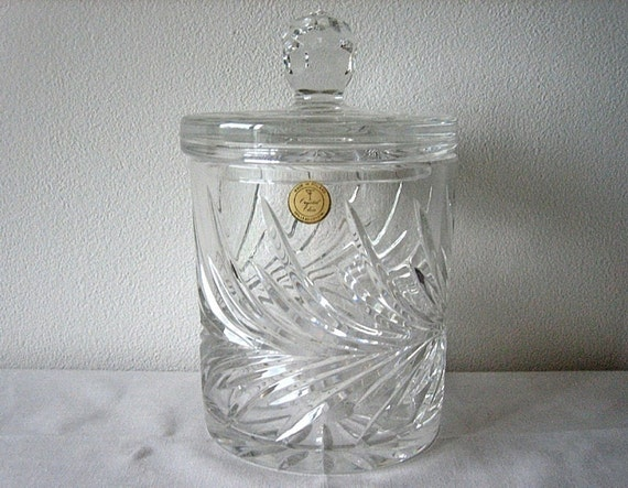 Vintage with LABEL Bohemia Polish LEAD CRYSTAL Glass Candy Jar Lid Biscuit Canister Dish