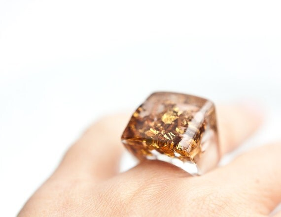 Resin Ring Copper Gold Flakes Square Shape Cocktail Ring OOAK brown geometric minimalist jewelry