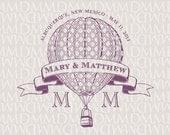 Vintage Hot Air Balloon Custom Wedding Monogram - Wedding Logo - Wedding Crest