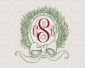 Festive Wreath Holiday Custom Wedding Monogram - Wedding Logo - Wedding Crest