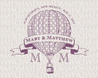 Vintage Hot Air Balloon Custom Wedding Monogram - Wedding Logo - Wedding Crest