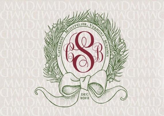 Festive Wreath Holiday Custom Wedding Monogram - Wedding Logo - Wedding Crest