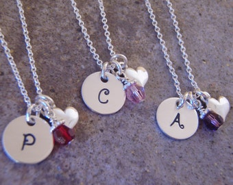 Little girl's initial necklace - Tiny Heart and initial necklace - ONE sterling silver dainty necklace- Photo NOT actual size