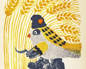 "Vintage Soviet Illustration ""Comrade Tweet"" Farmer Bird Sickle Communist - Surreal Weird Animal Art"