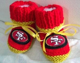 Custom handmade knit NFL San Francisco 49ers baby booties 0-12M-cute gift photos