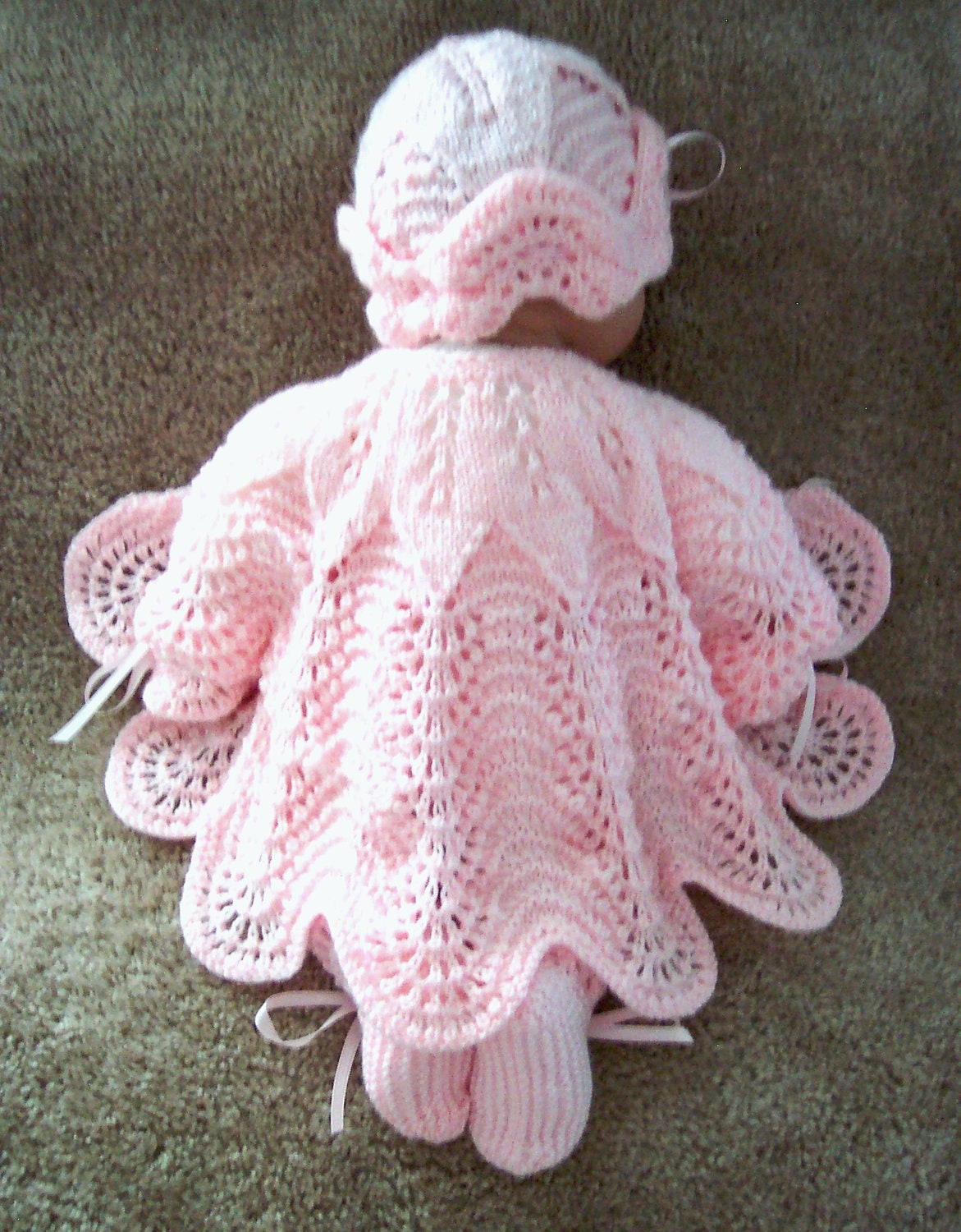 Handmade Knitting Patterns : Custom handmade knit baby girls or Reborn Dolls pink