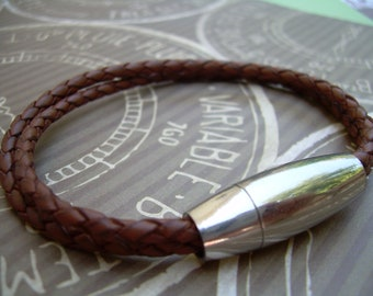 Mens Braided Leather Bracelet, Double Saddle, with Stainless Steel Magnetic Clasp, Fathers Day , Mens Jewelry