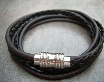 Leather Bracelet,Stainless Steel Magnetic Clasp, Double Wrap, Mens Bracelet, Womens Bracelet, Mens Jewelry,Womens Jewelry,Groom, Fathers Day
