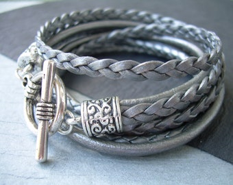 Womens Metallic Gray Silver Leather Bracelet ,Triple  Wrap Leather Bracelet, Womens Bracelet, Womens Jewelry, Mothers Day, Womens Gift