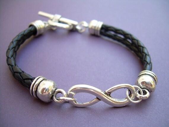 Black Braided Leather Bracelet Infinity Bracelet Womens