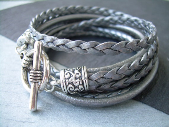 Womens Leather Bracelet Metallic Gray-Silver Triple Wrap