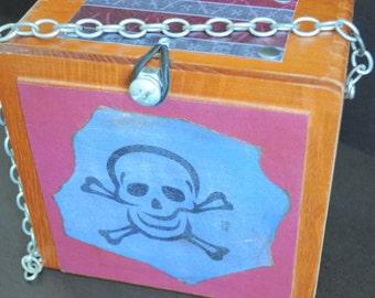SALE! Skull and Crossbones Purse, Upcycled Cigar Box Purse, Pirate Themed handbag, teen fashion