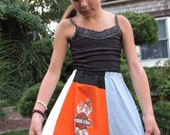 Upcycled girls t-shirt skirt, fun colorful girls size 8-10 - one of a kind.